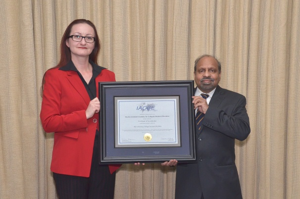 IACBE re-accreditation certificate